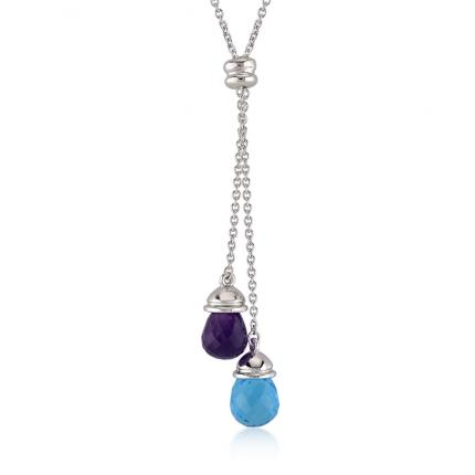 4,37 Karat Blue Topaz ve Ametist Drop Kolye