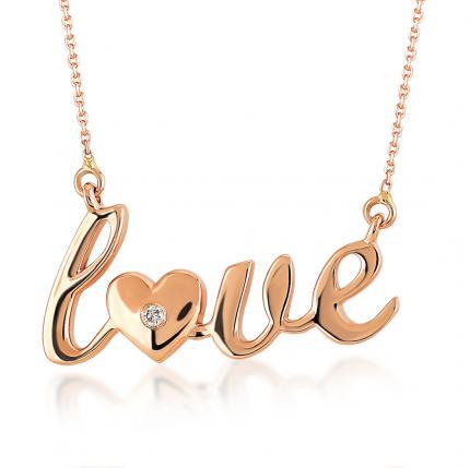 Pırlanta Altın Love Kolye